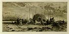 "Peter Moran, etching, ""Harvest, San Juan"""
