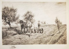 "Peter Moran, etching, ""Mowing"""