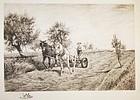 """Peter Moran, etching, """"Mowing"""""""