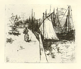 "John Henry Twachtman, etching, ""Women on the Quay"""