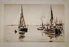 """Charles Adams Platt, etching, """"Two Sloops, East River"""""""