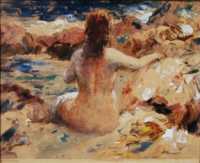 "Vladimir Pavlosky, monoprint, ""Nude on the Shore"""