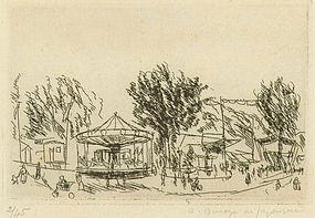 """Andre Dunoyer de Segonzac, etching, """"Foire de Chaville"""""""