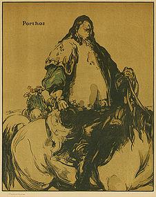 """Sir William Nicholson, woodblock, """"Porthos"""""""