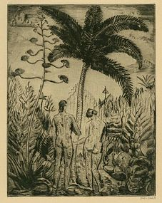 "Joseph Hecht, etching, ""Adam and Eve"""
