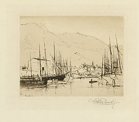 "Stephen Parrish, etching, ""Port of Nice"""