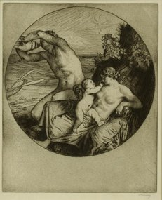 "William Strang, etching, ""The Fisherman"""
