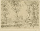 """Alphonse Legros, etching, """"Les Bords De La Liane"""""""