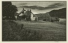 "Asa Cheffetz, wood engraving, ""Deserted Farm"""