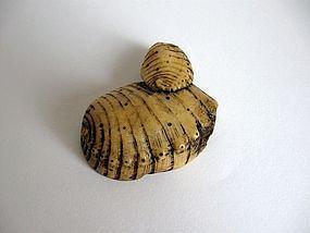 Japanese Antler Ivory Netsuke of Abalone