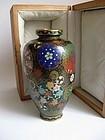 Japanese Signed Cloisonne Vase in Original Box