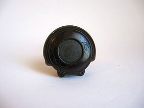 Japanese Wooden Signed Manju Netsuke of a Gong