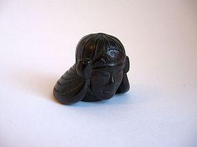 Japanese Wooden Jingasa Netsuke