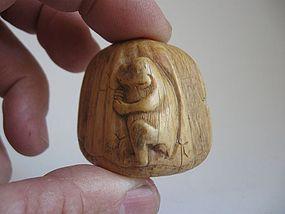 Japanese Ivory Netsuke of a Monkey on a Chestnut