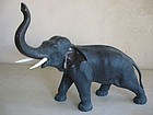 Large Japanese Meiji Bronze Elephant, Signed