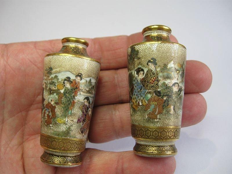 Japanese Pair Of Very Miniature Satsuma Vases By Seikozan With