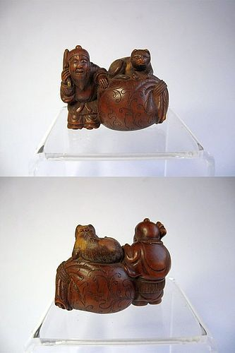 Japanese Wooden Netsuke of Daikoku and a Cat