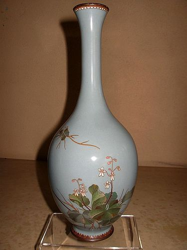 Japanese Tall Cloisonne Vase Showing a Ground Orchid