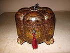 Chinese Lacquered Melon Tea Caddy