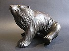 Japanese Okimono Meiji Period Bronze Brown Bear, Signed