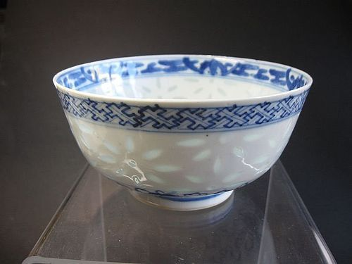 Chinese 19th Century Porcelain Bowl, Rice Pattern