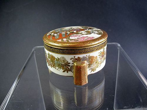 Japanese Miniature Satsuma Lidded Pot by Kaizan