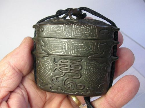 Japanese Iron Inro with Silver Inlay