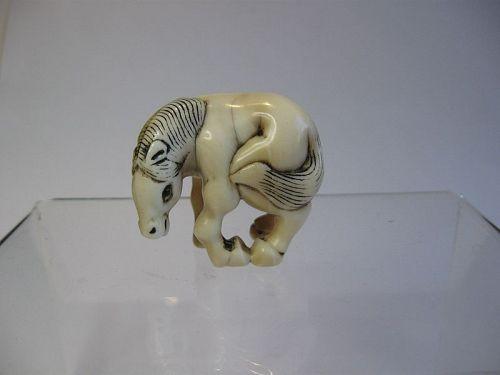 Japanese Marine Ivory Netsuke of a Grazing Horse, Signed