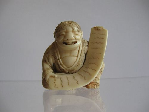 Japanese Ivory Netsuke of Kanzan by Masatsugu, Signed