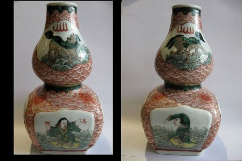 Chinese Ming Polychrome Porcelain Double Gourd Vase, Wanli Mark