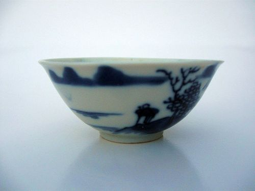 Chinese Small Porcelain Blue and White Tea Bowl
