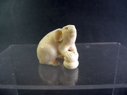 Japanese Marine Ivory Netsuke of a Rat