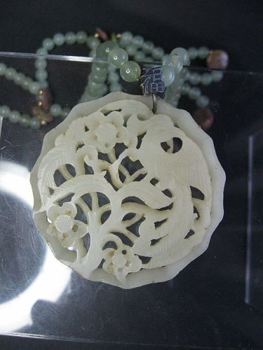 Chinese White Jade Phoenix Pendant, with Green Jade Beaded Chain