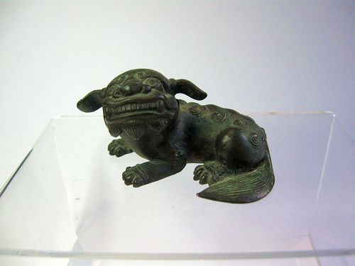 Chinese Bronze Ming Period Bronze Water Dropper, Foo Dog