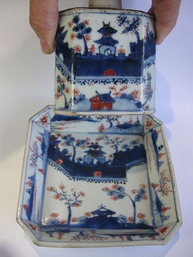 Chinese Qianlong Period Porcelain Tea Caddy and Dish