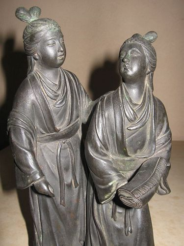 Chinese Bronze in the Form of a Pair of Daoist Immortals, Signed
