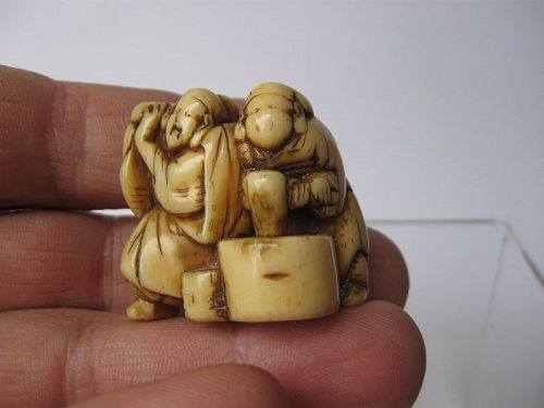 Japanese Netsuke of Two Peasants, Signed