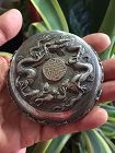 Chinese Silver Dragon Lidded Box, Marked