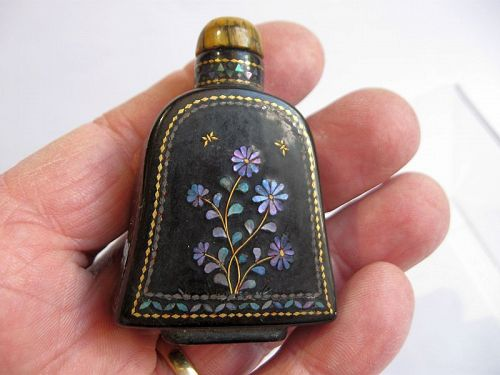 Chinese Lacquer and Mother of Pearl Snuff Bottle