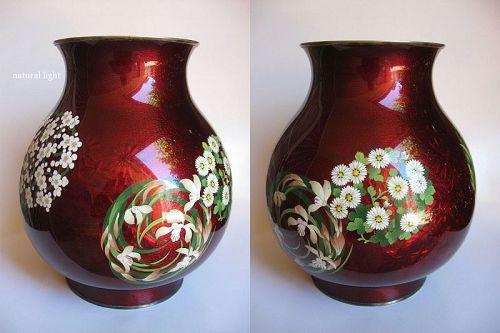 Large Japanese Cloisonne Vase, Marked Ando