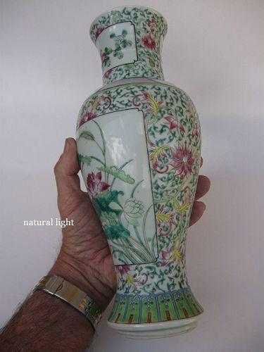 Chinese Famille Verte Lotus Scroll Vase