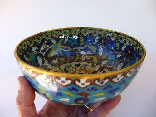 Chinese Late Ming Period Cloisonne Roundel Bowl