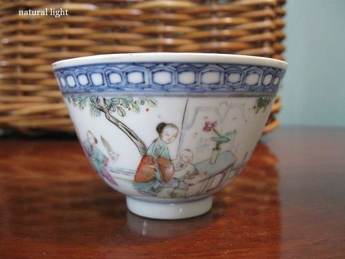 Chinese Famille Rose Tea Bowl, Marked