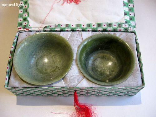 Chinese Pair of Jade Bowls in Original Box