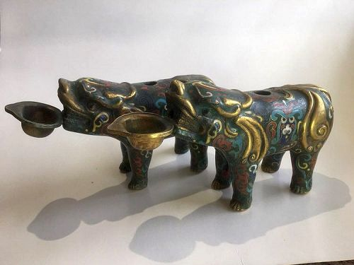 Chinese Pair of Gilt Bronze Beast Water Droppers