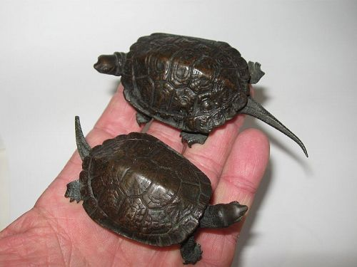 Japanese Pair of Bronze Turtle Okimonos, Signed