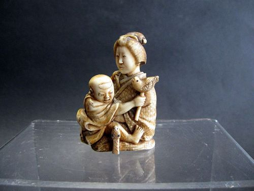Japanese Okimono of a Mother Holding her Child