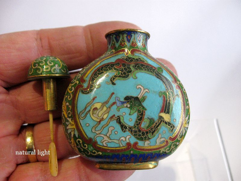 Chinese Cloisonné Snuff Bottle, Marked