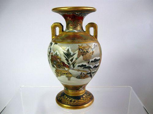 Museum Quality Japanese Satsuma Greek Style Miniature Urn Vase,