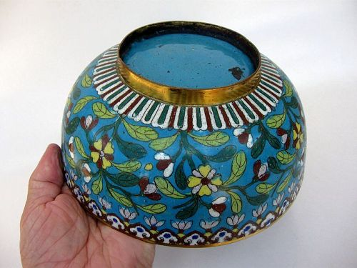 Chinese Cloisonné Bowl on Gilt Bronze
